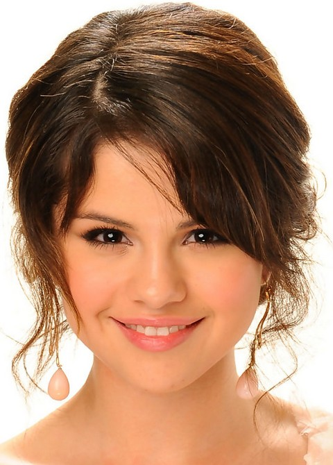 Selena Gomez Hairstyles:Romantic Brown Messy Updo