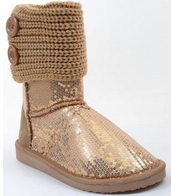 Sequin Crochet Slouchy Knit Sweater Button Flat Boot Camel