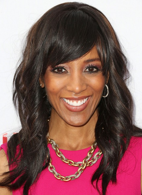 Shaun Robinson Long Hairstyles: Curly Hairstyle with Side Bangs