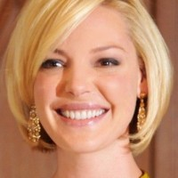 Short Deep Parted Bob Haircut for Round Face