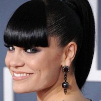 Sleek Black Ponytail with Full Blunt Bangs