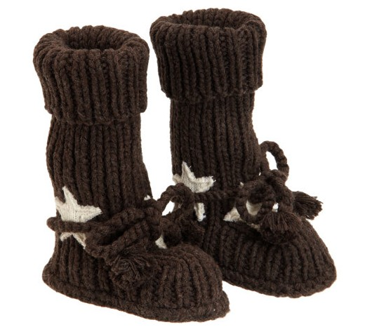 Tane Organics Star Appliqué Knit Booties