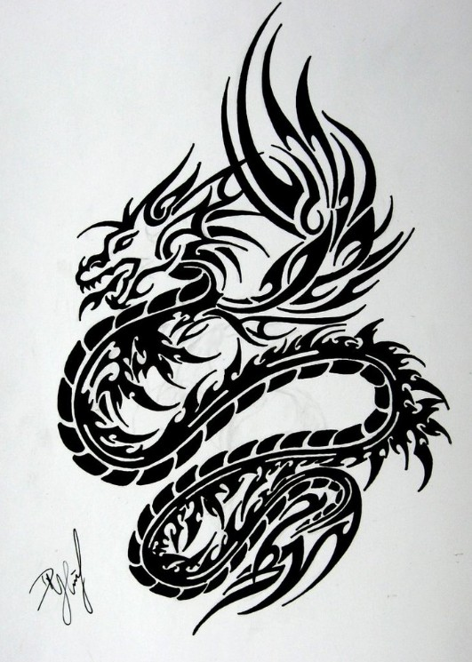17 tribal dragon tattoo designs tatouage japonais oiseau phoenix bras complet et poitrine. Black Bedroom Furniture Sets. Home Design Ideas