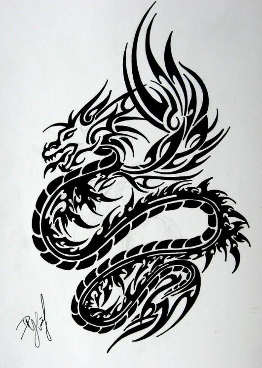 Trible Dragon Tattoo Design