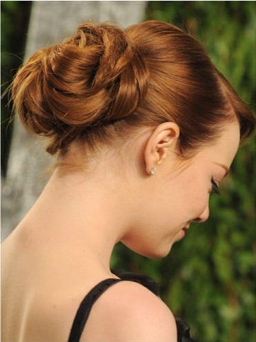 Twisted Bun Hairstyle for Mid-length Straight Hair