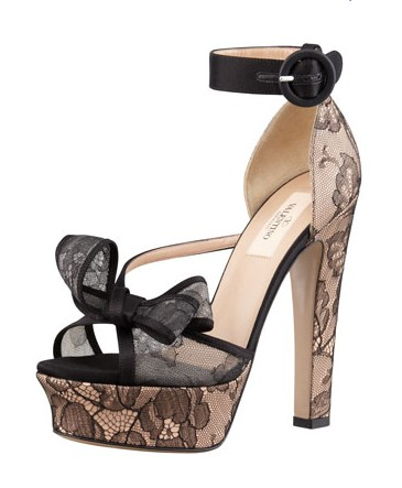 Valentino Satin-Lace Bow Platform Sandal, Black Skin