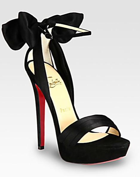 VampanodoChristian Louboutin Satin and Suede Bow Platform Sandals