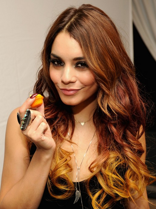 Vanessa Hudgens Long Hairstyles 2014: Ombre Curly Hairstyle