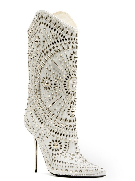Versace Silver, White and Metallic Boots