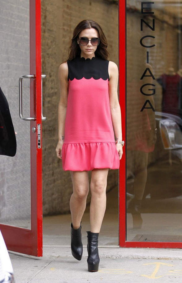 Victoria Beckham Bright Pink Baby Doll Dress Complete with Scalloped Detailing