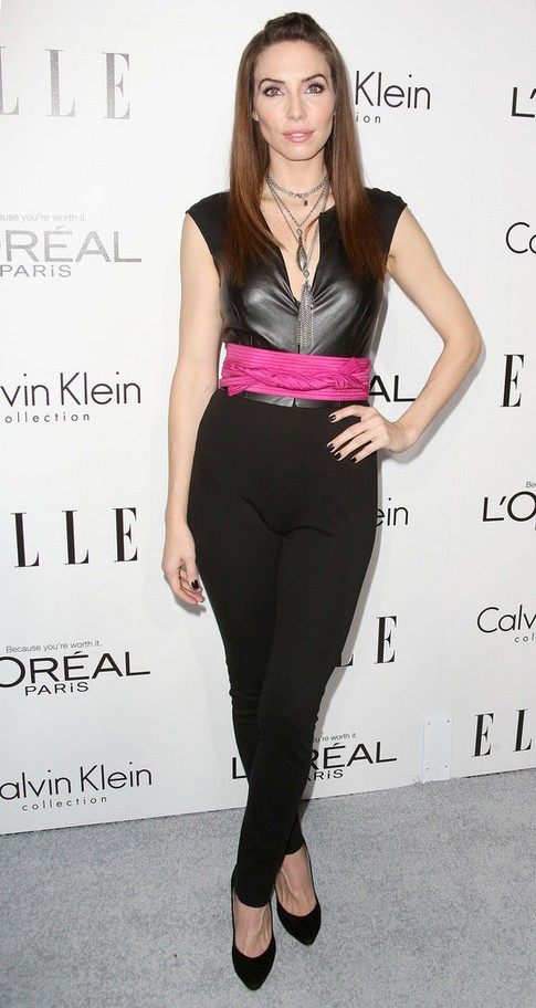 Whitney Cummings Tight-fitting Black Leather Jumpsuit