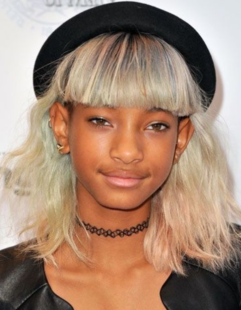 Willow Smith Hairstyles: Platinum Blonde Straight Haircut with Bangs
