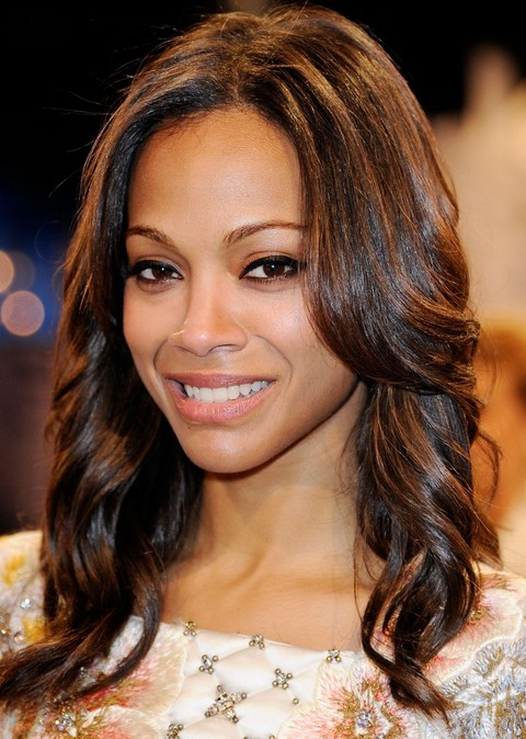 Zoe Saldana Hairstyles: Brunette Long Curls