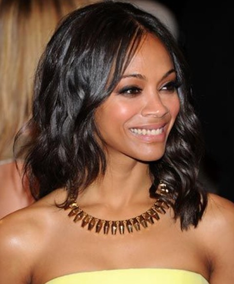 Zoe Saldana Hairstyles: Center-parted Medium Curls for Any Occasion