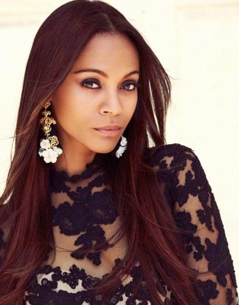 Zoe Saldana Hairstyles: Center-parted Straight Haircut for Burgundy Hair