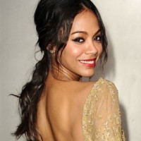 Zoe Saldana Hairstyles: Gorgeous Messy Ponytail