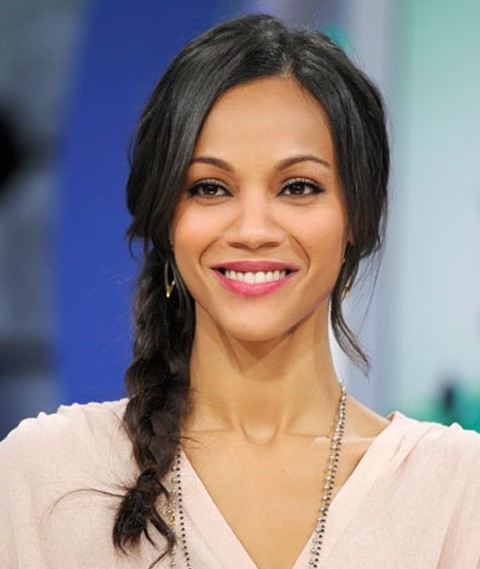 Zoe Saldana Hairstyles: Side-swept Braid