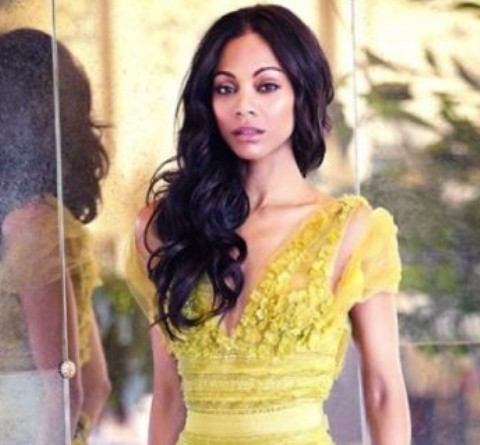 Zoe Saldana Hairstyles: Side-swept Voluminous Long Curls