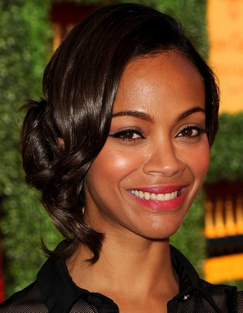 Zoe Saldana Hairstyles: Sweet Bobby Pinned Updo