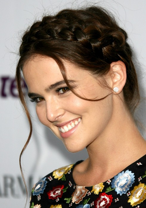Zoey Deutch Long Hairstyles: Braided Updo Hairstyle for Prom 2014