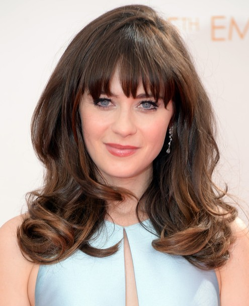 Superior Zooey Deschanel Long Hair Style:2014 Angled Waves