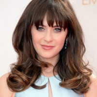 Zooey Deschanel Long Hair style-2014 Angled Waves