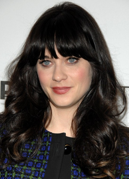 Zooey Deschanel Long Hairstyle: Curly Hair with Bangs