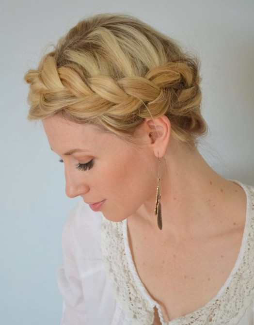 curly fade hairstyle : Braided Hairstyles Tutorials: Boho Crown Braid for Prom / Source