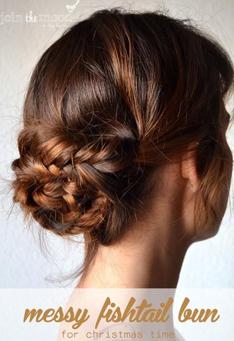 20 Braided Hairstyles Tutorials: Messy Fishtail Bun