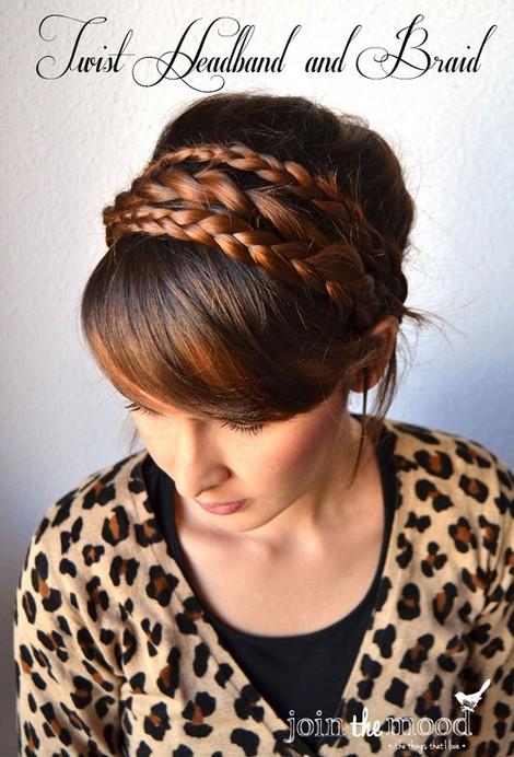 20 Braided Hairstyles Tutorials: Twist Headband and Braids