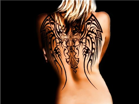 30 Angel Tattoos Designs: Angel Cross Wings Tattoo