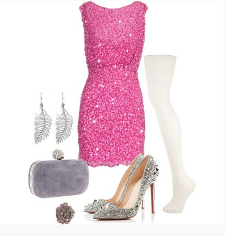 A Bright Pink Combination for New Year Look, Sequined Coset Dress with Sequined Pumps