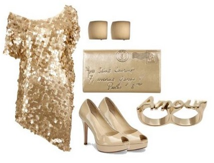 A Combination for New Year Look, Sequined Coset Dress with Nude Pumps