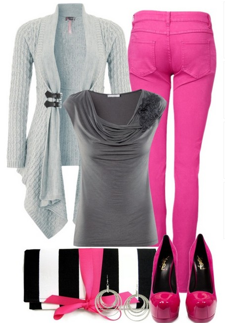 Casual styled cardigan, bright pink skinnies and pumps