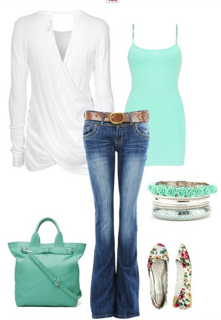 Casual styled white cardigan, Jeans., bright blue top and flats