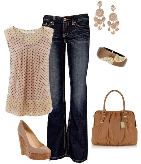 Polka-dot print top, bright and nude wedges