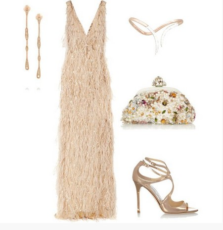 A Gorgeous Combination for New Year Look, Long Evening Dress with Pumps
