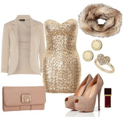 A Nude Combination for New Year Look, Sequined Coset Dress with Nude Pumps