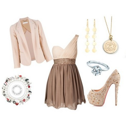 A Nude Combination for New Year Look, Sequined One-shoulder Dress with Nude Sequined Pumps