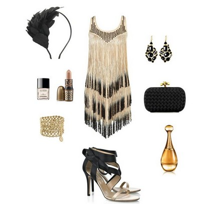 A Nude and Black Combination for New Year Look, Cocktail Dress with Black Pumps