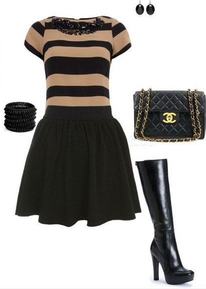 A Nude and Black Combination for New Year Look, Cocktail Sweater Dress with Black Knee-length Boots