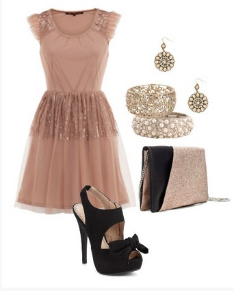 A Nude and Black Combination for New Year Look, Sequined Cocktail Dress with Black Pumps