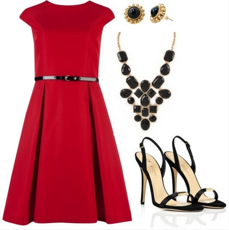 A Red and Black Combination for New Year Look, Red Knee-length Cocktail Dress with Black Pumps