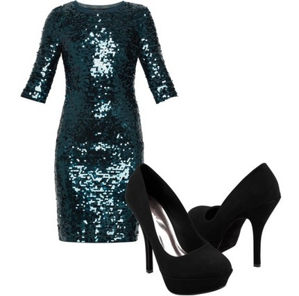 A Shinny Combination for New Year Look, Green Sequined Coset Dress with Black Pumps