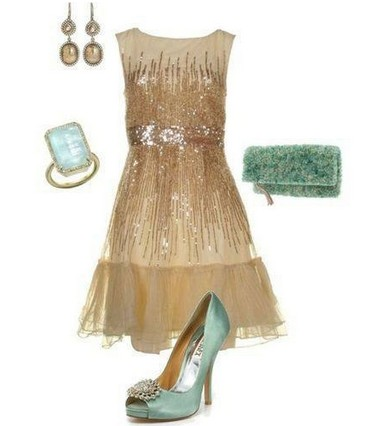 A Shinny Combination for New Year Look, Pink Sequined Coset Dress with Blue Pumps