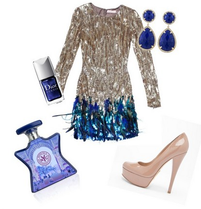 A Shinny Combination for New Year Look, Sequined Coset Dress with Pink Pumps