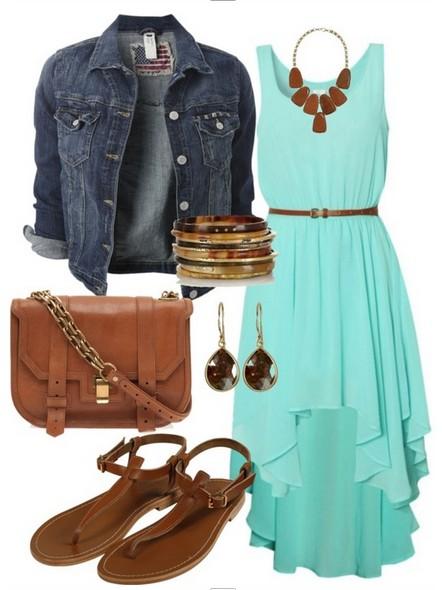 denim jacket, blue fishtail dress and flip sandles