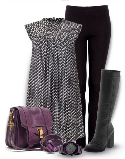 loose print blouse, black skinnies and knee-length boots