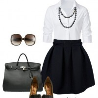 A Simple Look for 2014, white shirt, little black skirt and black sandles