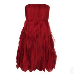 Alice + Olivia Kahlo silk-chiffon dress, strapless, red